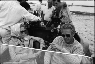 Steve McQueen (and Faye Dunaway) filming The Thomas Crown Affair (1968)