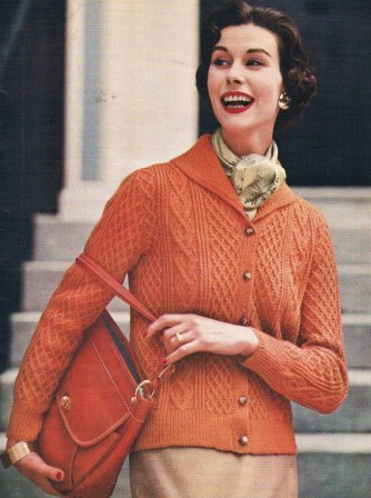 Early pattern for an Aran sweater from Vogue (Autumn 1956)