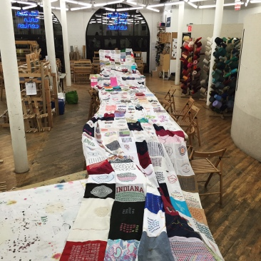 The completed tally-mark quilt at Textile Arts Center, New York City – http://5point4million.tumblr.com