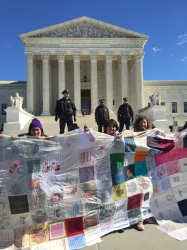 The tally-mark quilt in action at the Supreme Court in Washington D.C. – http://5point4million.tumblr.com