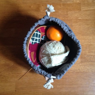 Snoqualmie Yarn Toklas Needlepoint Fringe Field Bag Knitting WIP