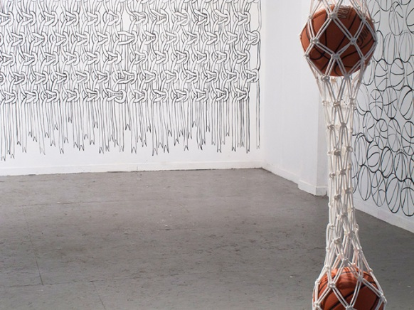 Hazel Meyer Basketballs Suspended In Net With Macramé Wall